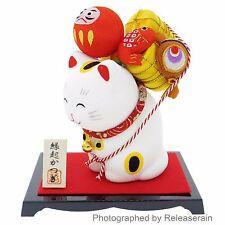 Kyoto Crepe Maneki Neko Lucky Cat Carrying Auspiciousness Figurine Made in Japan