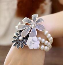 Pearl Jewelry Betsey Johnson Enamel rhinestones multi - storey flowers bracelet