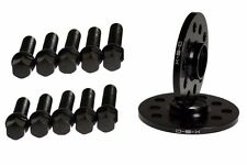 VW 12MM BLACK Wheel Spacers 5x100 5x112 SET + CONICAL SEAT BOLTS - JETTA GOLF