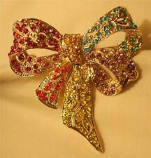 Gorgeous Multi-Colored Rhinestone Looped Ribbon Bow Goldtone Brooch Pin