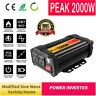 2000W Peak Solar Power Inverter 12V DC To 110V AC Modified Sine Wave Converter