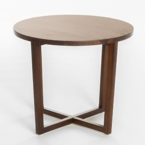 Rich Mahogany Brown Round Wooden End Table Rustic Wood Living Room Furniture