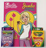 New Lot Of 3 Barbie Jumbo Coloring & Activity Book Glitter & Regular Crayons