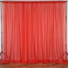 """2 panels of RED 10ft x12ft Sheer Voile Curtain Panel Backdrop w/ 4"""" Rod Pocket"""