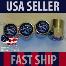 Subaru Blue Logo Valve Stem Set Caps Cover Chromed Roundel Wheel Tire Emblem USA