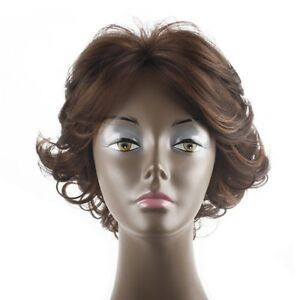 Short Pixie Cut Golden Brown Balayage Wig Wavy Heat Resistant Synthetic