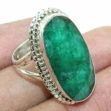 Handmade Emerald 925 Sterling Silver Cocktail Ring Jewelry S US 7