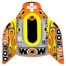 WOW Watersports 13-1020 Tri Pod Single Person Towable Tube with Handles, Orange