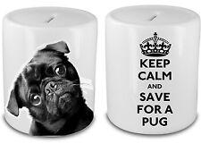 Personalizzato KEEP CALM Nero Pug Ceramica Contenitore Di Soldi