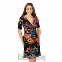Ladies Short Sleeve Floral Print Black Dress Size 8, 10, 12, 14, 16, 18, 20, 22