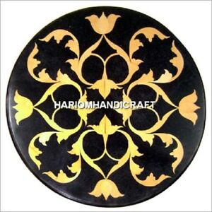 Black Round Marble Console Top Table Inlaid Modern Arts Dining Room Decor H4915