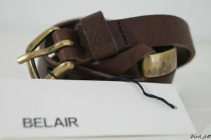 BELAIR CHEYENNE CHOCOLATE BROWN LEATHER BELT SIZE 85cm NEW!!