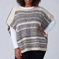 Lane Bryant Womens Short Knit Poncho Sweater OS One Size Palomino Tan Black  New