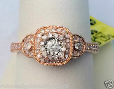 14k Rose Gold Vintage Cathedral Round Halo Milgrain Diamond Engagement Ring