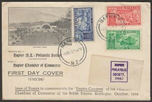 New Zealand 1936 KGV Commerce Congress Illustrated Pt Set First Day Cover Used