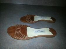 Women's Jimmy Choo Brown Leather Flats Sandals Shoes SIZE 35