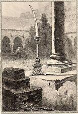 EAU FORTE / Fables de la Fontaine 1883 / LE CIERGE