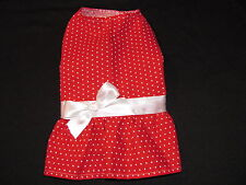 Red with White Polka Dots Dress Dog Puppy Pet Clothes S - Small