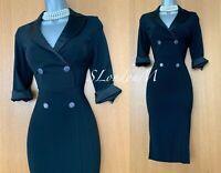 KAREN MILLEN UK8 Stunning Black Shirt Trench Military Style Occasion Midi Dress