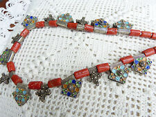Moroccan Berber Antique Coral and Antique Tiznit Enamel Silver Cross Necklace