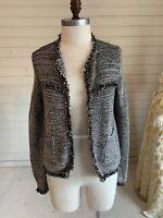 Chicos Black White Silver Tweed Sweater Knit Style Jacket Blazer Cardigan 1
