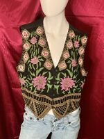 100% Silk Vest Christina XL Women's Beautiful Beaded Floral Multi Color Unique