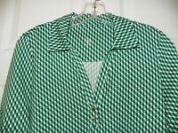 Ladies Short Sleeve Golf Shirt, Blk/White/Green Small