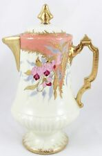 HAND PAINTED ORCHID GILT ANTIQUE LEWIS STRAUS LIMOGES COFFEE POT GOLD PASTE
