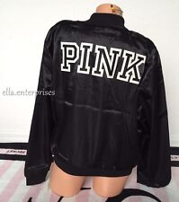 Victoria's Secret Pink Black White Embroidered Logo Satin Bomber Jacket - Large