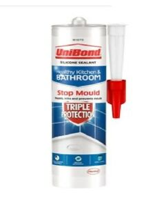 UniBond Triple Protection Stop Mould Sealant, Kitchen & Bathroom Sealant, White