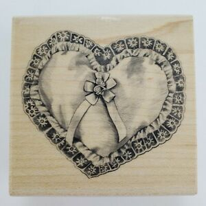 Heart Pillow Rubber Stamp Valentine's Day Romance Cardmaking Wood Mounted