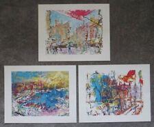 """3 Leroy Neiman prints Venice Marseilles Tour de France Versailles 16"""" X 20"""""""
