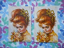 Two/pair vintage kitsch retro 50's game/playing cards - big eyed girl & flowers