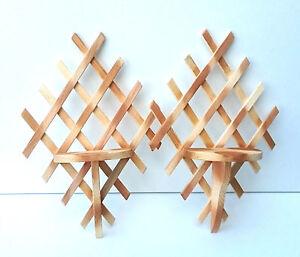 Pair of Wooden flower shelf , handmade decorative garden ornament