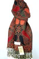 DG Pashmina Scarf Wrap Shawl,Paisley Red/Black.Silk Cashmere,Soft*029