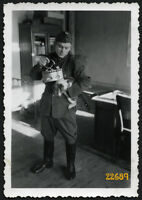 hungarian soldier cat and sad-iron, II. WW, funny, rare, unusual, Vintage Photog
