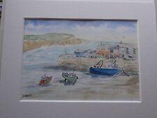 Original watercolour. Lyme Regis. The Cobb and harbour. Dorset. Mounted