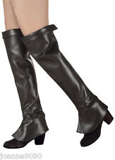 Ladies Long Black Medieval Pirate Superhero Fancy Dress Costume Boot Tops Covers
