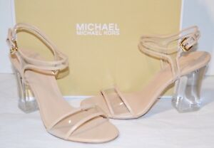 New $135 Michael Kors Tori Sandal Clear Plastic/Leather Sandal Oyster Beige