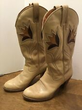 Dan Post Vtg Boots Flower Inlay Tan Stacked Heel Womens Size 6M Cowboy Leather