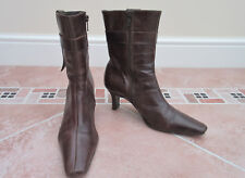 WOMENS BROWN LEATHER ANKLE BOOTS - PRINCIPLES - SIZE 38 / 5