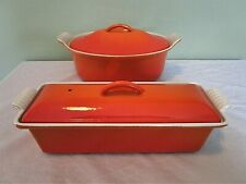 LE CREUSET CAST IRON PATE TERRINE AND CASSEROLE DISH 26 & 28 ORANGE