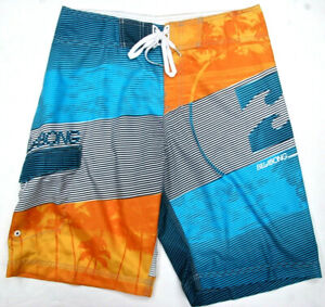 Billabong Boardshort  Orange Blue White Stripe Board Shorts Swimwear Surf