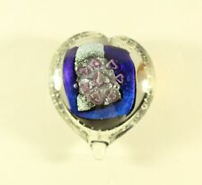 Randy Strong Dichroic Art Glass Heart Bubbles Paperweight Signed R. Strong '99