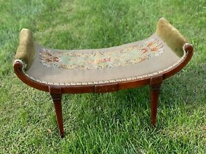 """Rare 32"""" Antique Victorian Floral Needlepoint Green Curved Inlay Wood Bench Seat"""