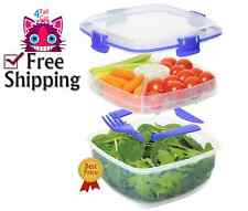 Airtight Lunch Cube Container BPA Free Microwave Safe Store Box Salad Set 37 Oz