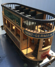vintage french wood and cast double decker trolley from the 1930's