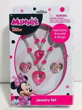 Disney Minnie Mouse Jewelry Set-Necklace, Bracelet & Rings- Brand New, Free Ship