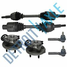 Front 2 NEW Wheel Hub Bearing + 2 BOTH CV Drive Axle + 2 Outer Tie Rods - 4 Door