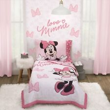 Disney Minnie Mouse 4-Piece Love Minnie Toddler Bedding Sets, Toddler Bed, Pink